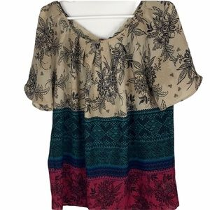 HALO brand boho top with bow on back of neck M